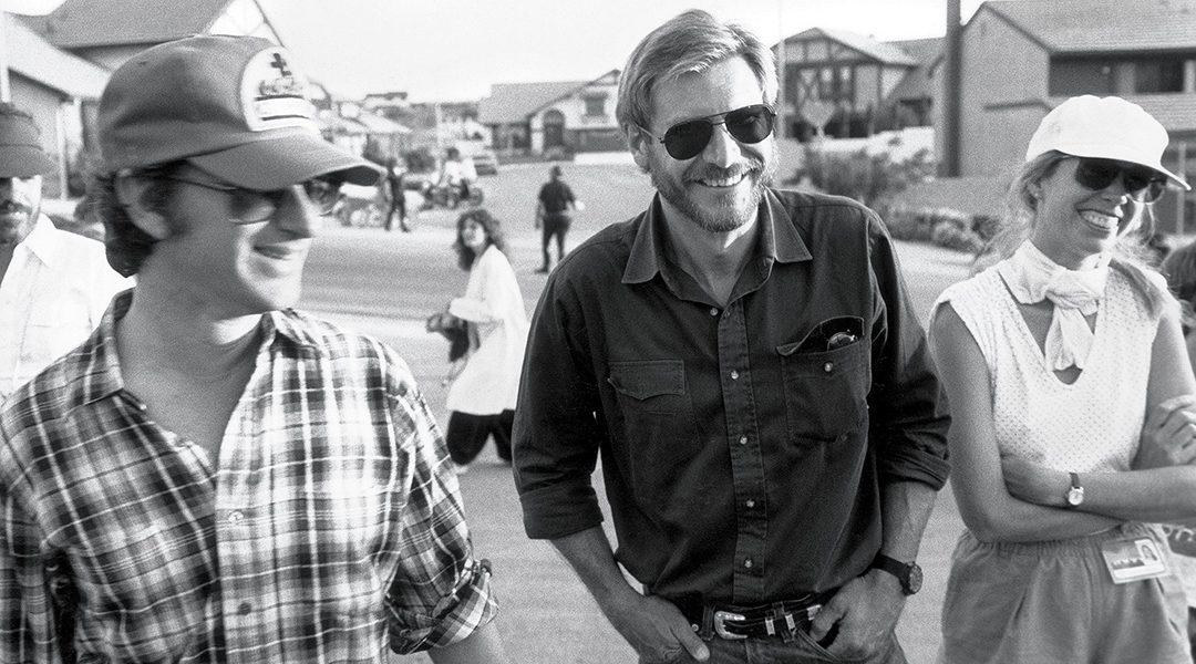 Steven Spielberg, Harrison Ford y Melissa Mathison en el set de E.T.