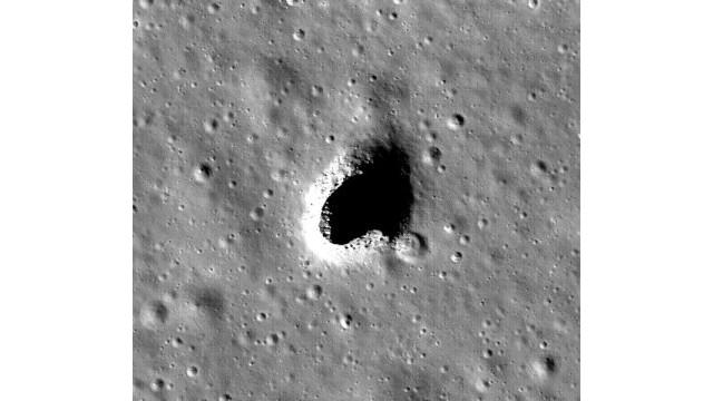 Entrada del conducto de lava intacto observado por el equipo de JAXA