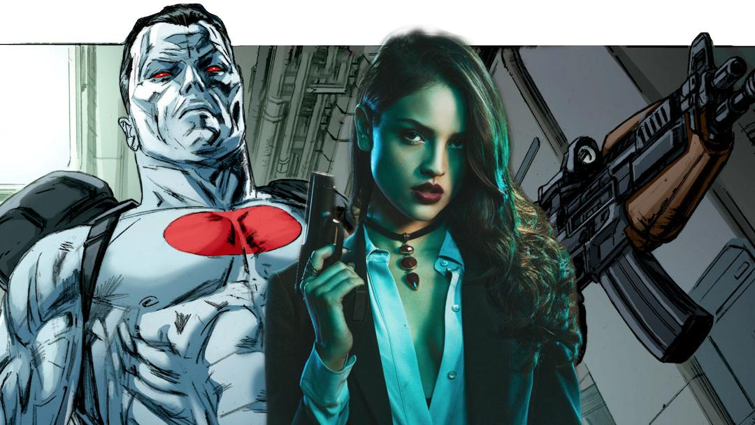 Eiza Gonzalez sobre una imagen del cómic Bloodshot