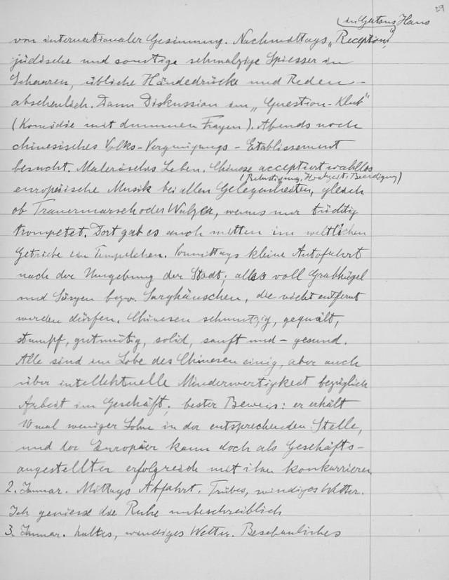 Página de The Travel Diaries of Albert Einstein, fechada en China 1922