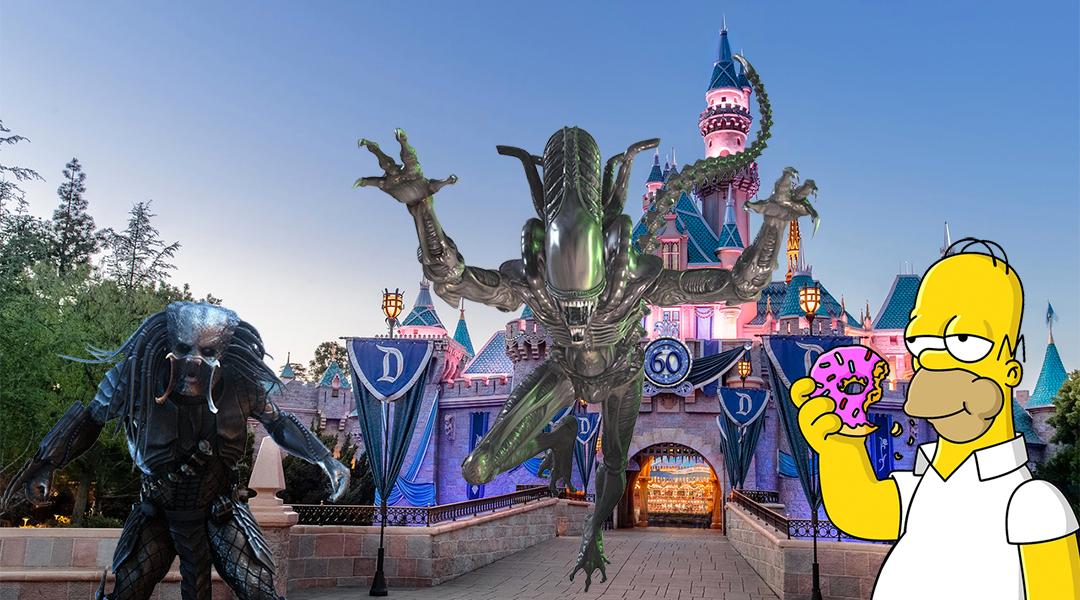 Alien, Depredador, y Homero Simpson en Disneylandia