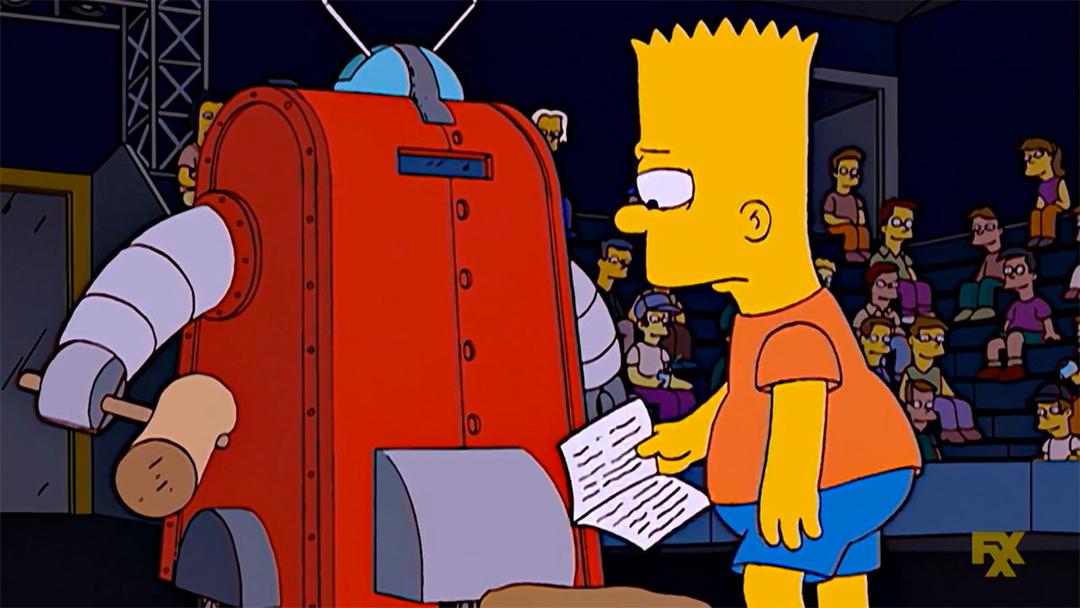 Bart Simpson usa un robot con su padre en el interior.