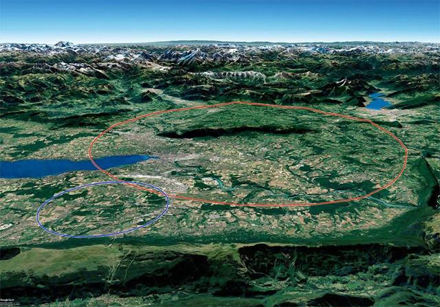 El nuevo colisionador se alojaría en un anillo de 100 km de largo (rojo) cerca del LHC de CERN (azul)
