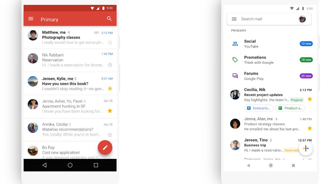 Imágen del nuevo diseño de Gmail movil