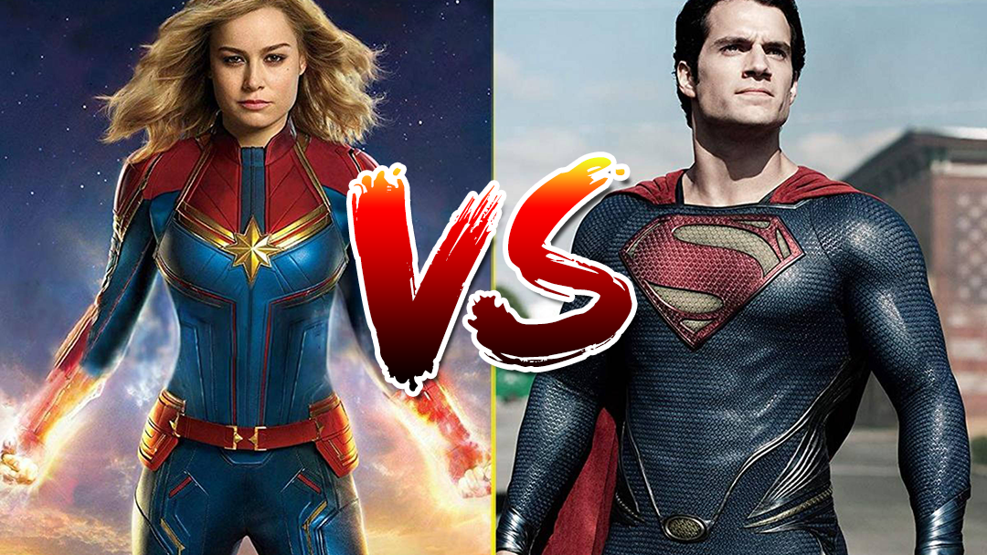 Capitana Marvel contra Superman en una imagen