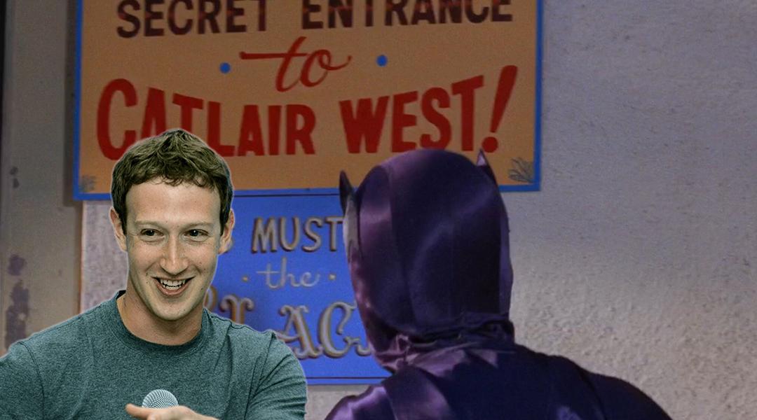El señor Zuckerberg con Batman, en un escondite secreto
