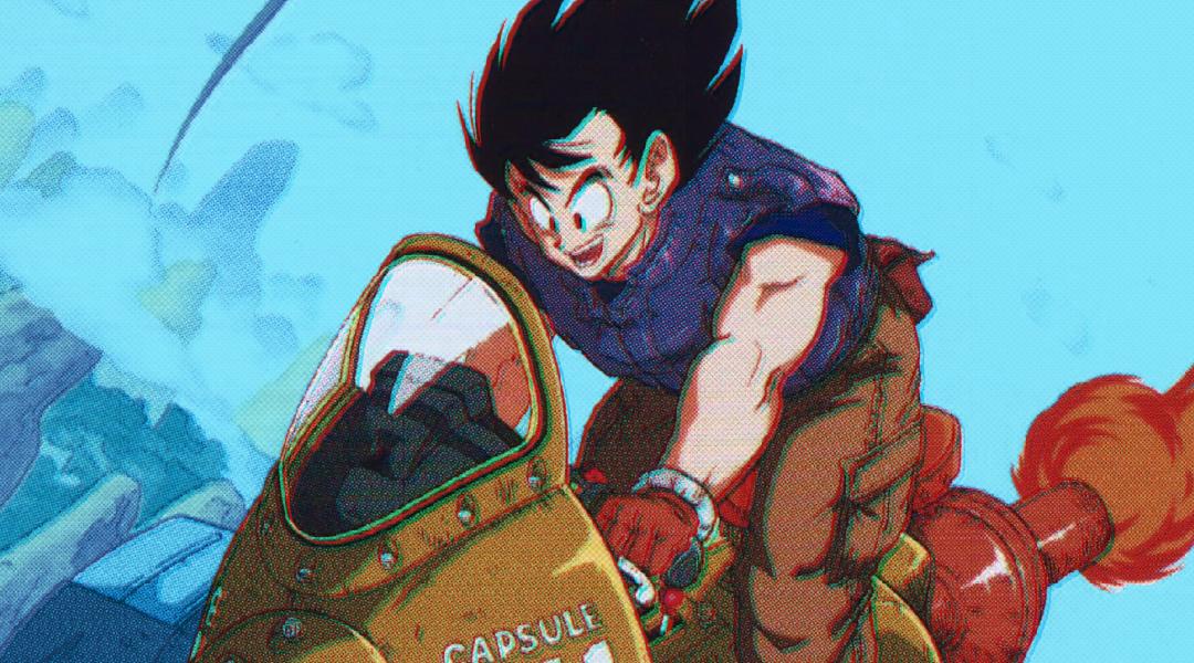 Imagen de Dragon Ball con Goku en moto