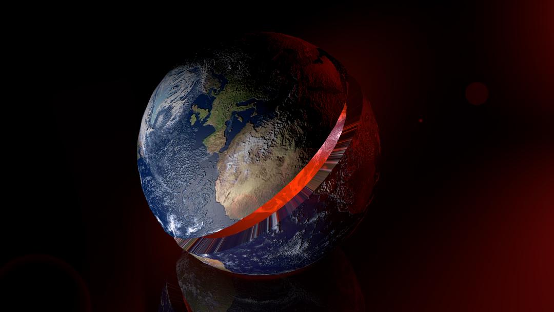 Corteza Terrestre Dividida y partiendo en dos la Tierra