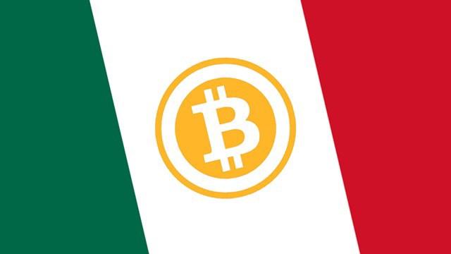 Logo de bitcoin en el centro de una bandera mexicana