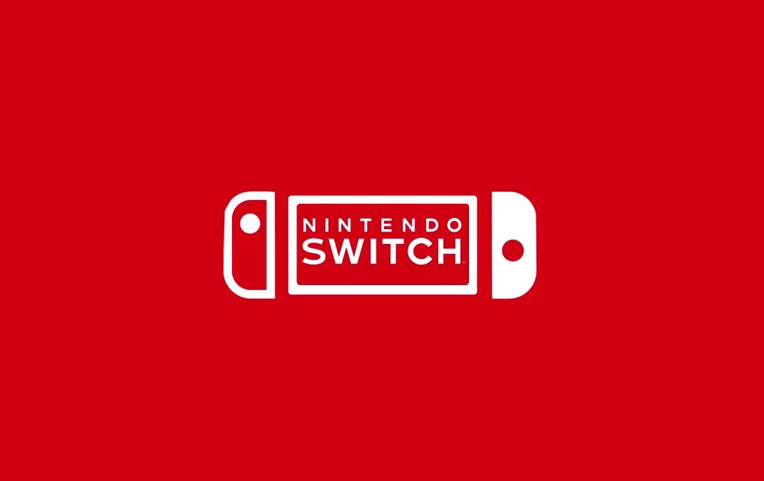 Logo de Nintendo Switch en color blanco con fondo anaranjado