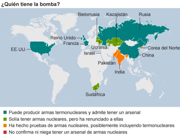 Mapa que muestra los países con proyectos nucleares