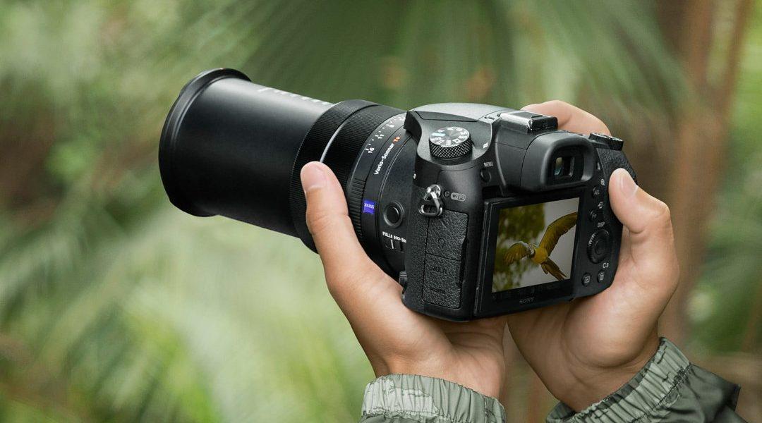 Manos sosteniendo una cámara réflex digital (DSLR)