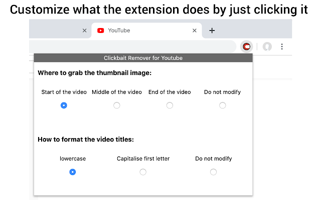 Captura de clickbait remover for youtube