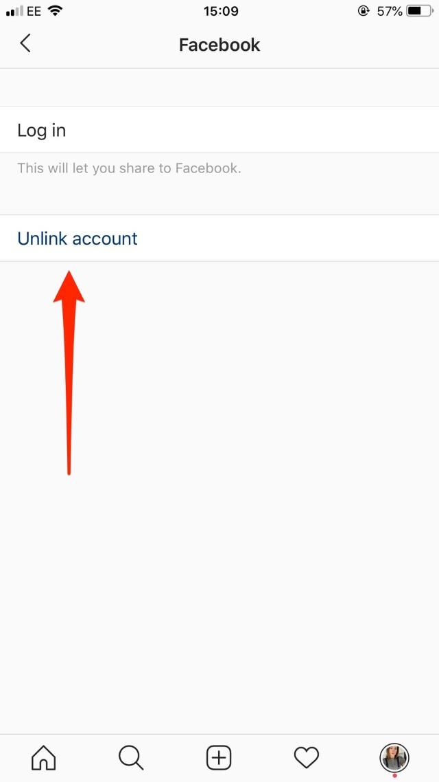 Captura de cómo desconectar tu cuenta de Instagram de tu Facebook