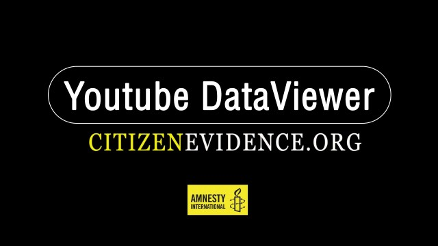 Logo de Amnesty YouTube data viewer fondo negro