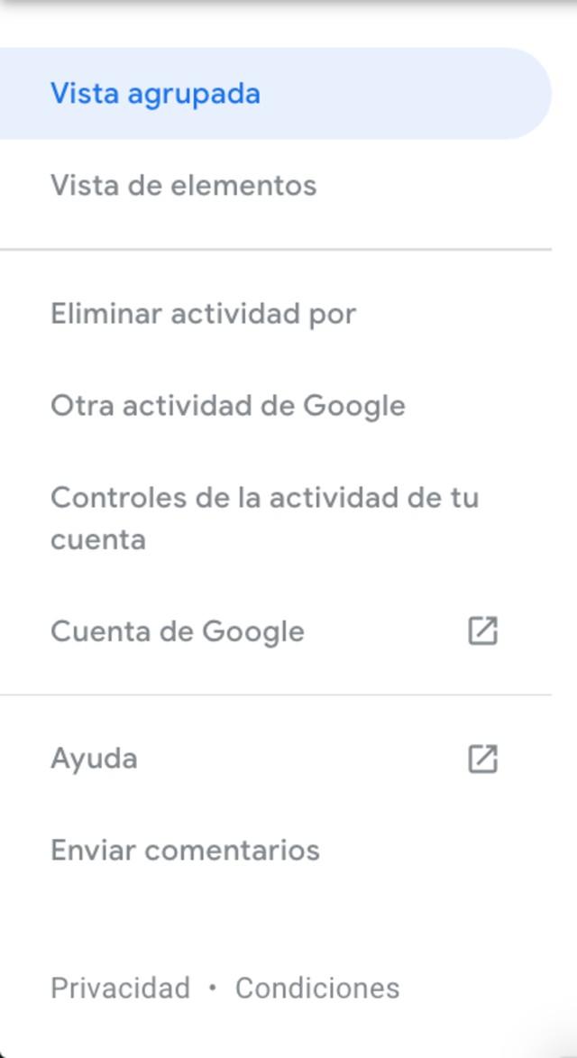 Captura de pantalla mençu de mi actividad de Google