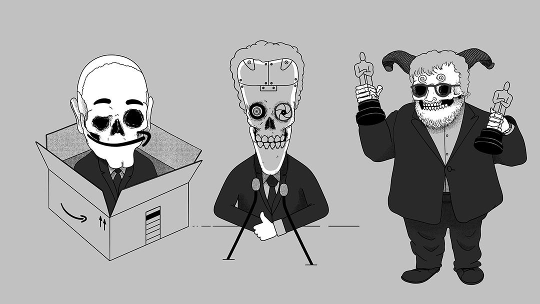Jeff Bezos, Mark Zuckerberg y Guillermo del Toro en forma de calavera