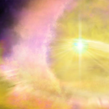 Impresión artística de la supernova SN2016aps, proporcionada por la Universidad Northwestern el 13 de abril de 2020. Aaron Geller / Universidad Northwestern