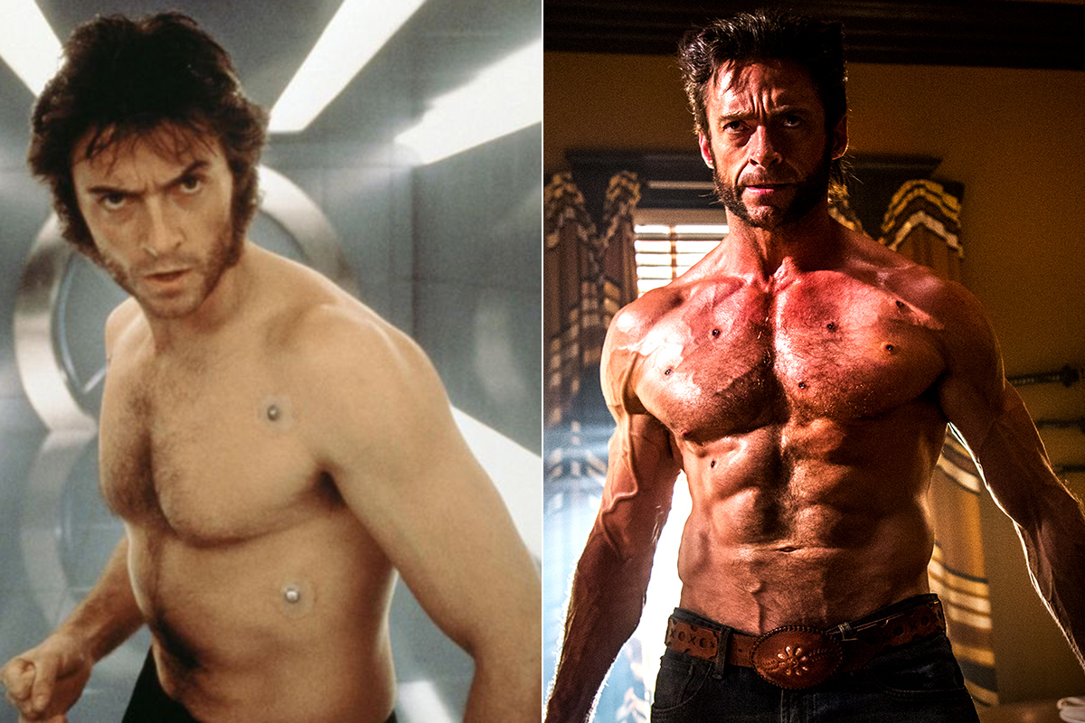 Hugh Jackman en la primer película de Xmen y en una de las últimas