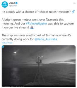 Barco capta meteorito en destrucción