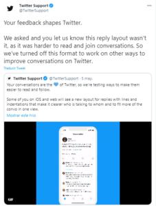 Twitter desactiva las respuestas en hilos porque eran confusas