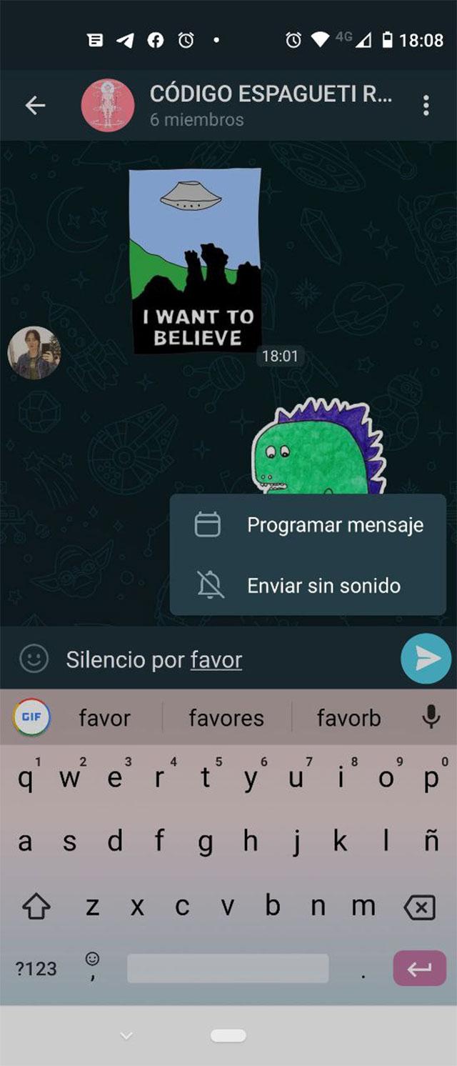 Mensajes programados y silenciosos en Telegram