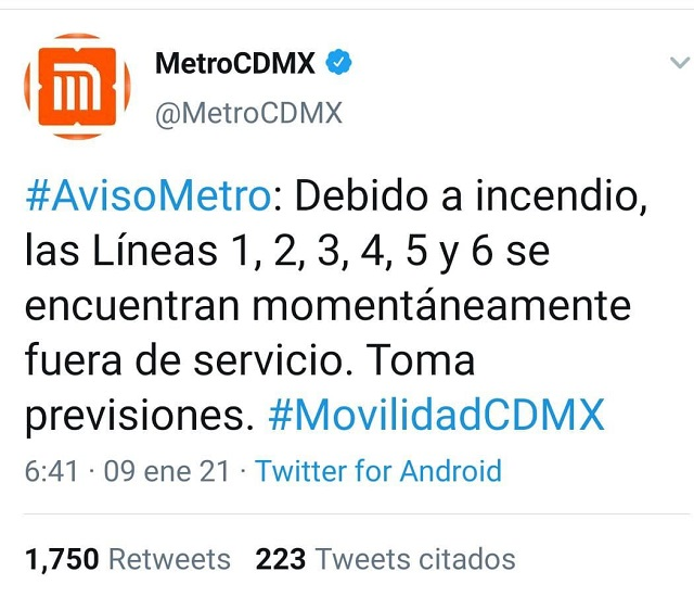 Líneas del Metro Cerradas