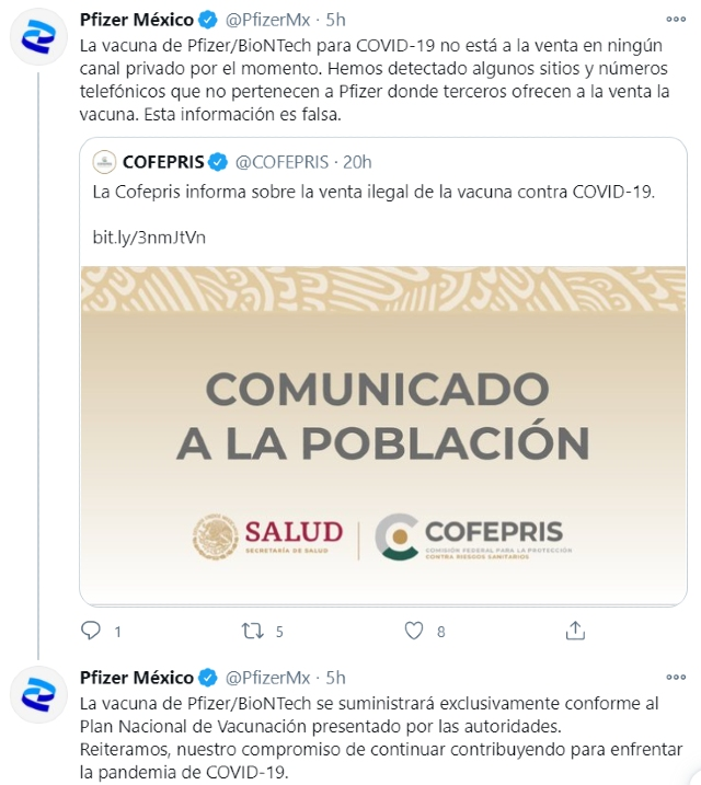 Pfizer alerta por vacuna falsa que se vende en México