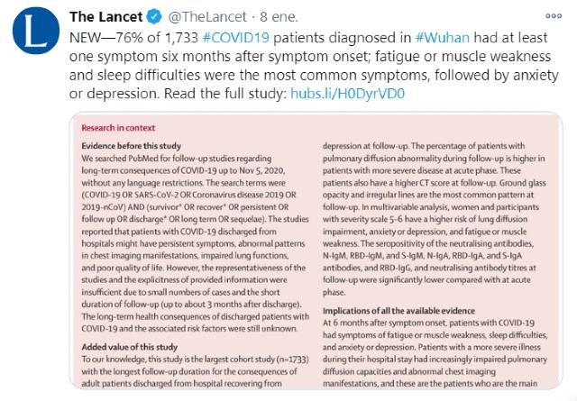 Síntomas de Covid-19 permanecen por seis meses más