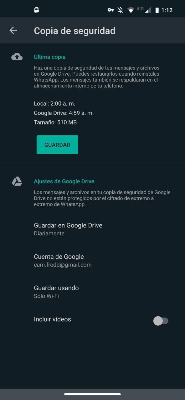 WhatsApp Copia de seguridad